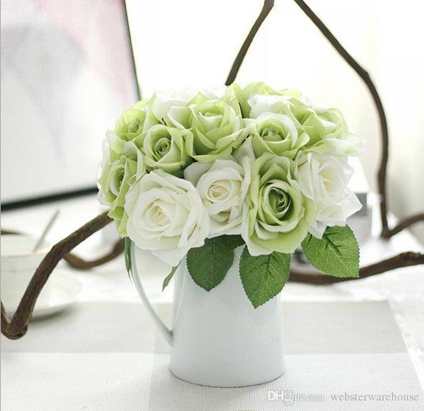 White green rose bunch artificial flowers real look wedding home the flowers are made of high quality and easy to clean perfect for decorating wedding party your home and garden decorationofficecoffee house and so on mightylinksfo