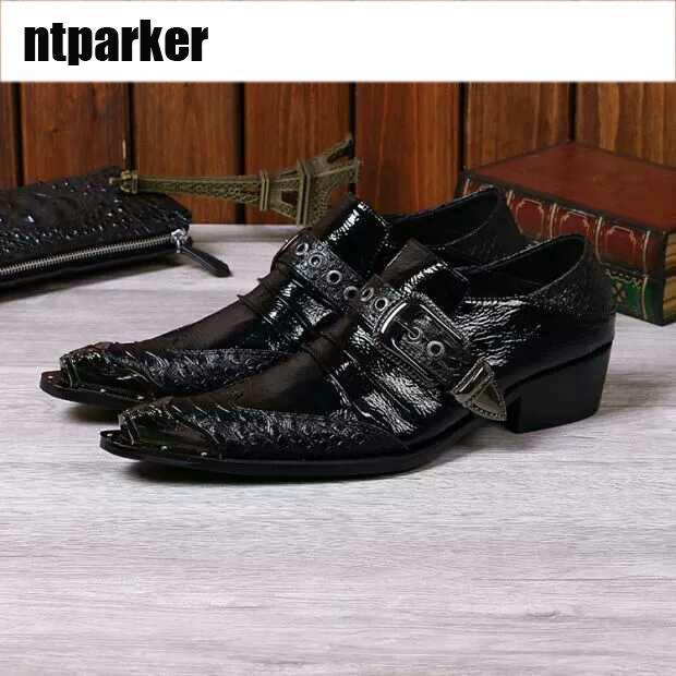 8ff6c0b0ed494 Italienische Art Schwarz Schnalle Herren Lederschuhe Männer Hochzeit Kleid  Formale Schuhe Schwarz Business Schuhe für Männer Loafers Y