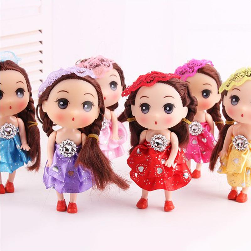 Wholesale Vinyl Toys 12cm Mini Confused Doll Wedding Dolls Hat Curly Hair Wedding Dress Girls Pendant Toy Nice Deco Gifts