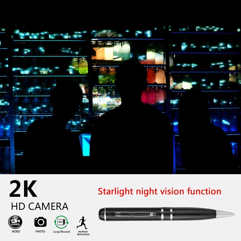16 GB 32 GB Süper HD 2304x1296 P 1080 p 2 k Mini Kalem Kamera H.264 Hareket Algılama Kalem MINI DV DVR Tek Düğme Operasyonu