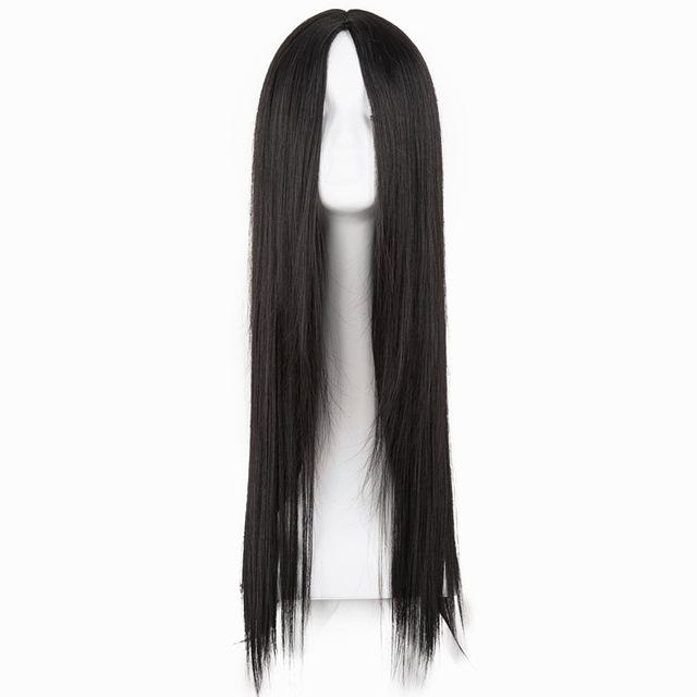 Black Wig Synthetic Heat Resistant Long Straight Middle Part Line Costume Cosplay Hair 26 Inches Salon Party Hairpieces
