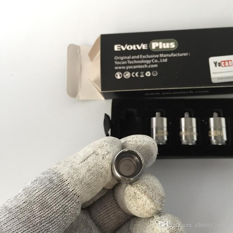 Auténticas bobinas de cerámica con rosquilla Quartz Dual Coils QDC para Yocan Evolve Plus Kit Evolve Vaporizers E Bobinas de reemplazo de Cigs 5 unids / paquete