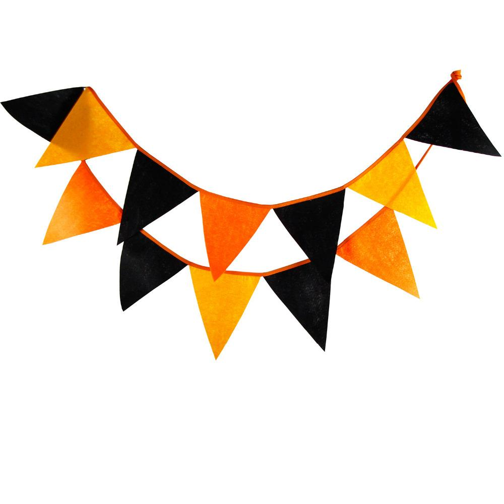 16884fc5c 2019 Wholesale 12 Flags 3.2M Orange Black Felt Banners Halloween Decoration  Pennant Bunting Party Garland Banner From Dalihua
