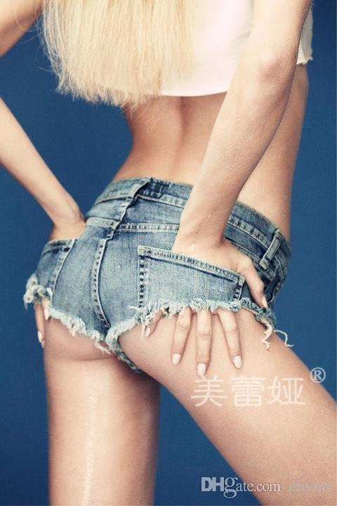 2017 Womens Summer Fashoin Girl Hot Sexy Shorts Women Denim Thong Shorts Mini Jean Shorts Femme Sex G-String Short Pants Blue