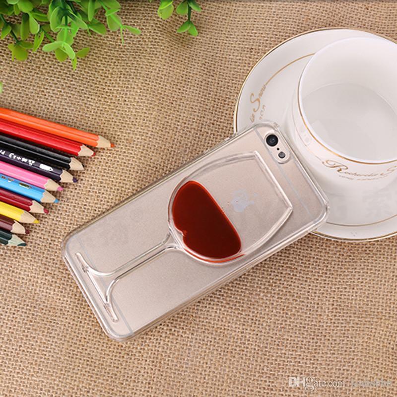 Para iphonex quente líquido de vidro de vinho tinto areia movediça transparente telefone case rígido de volta capa para iphone x 6 6 s 7 8 além de habitação