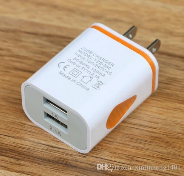 New products double 1A 2.1A flashing USB plug light charger colorful adapter for all smart phone