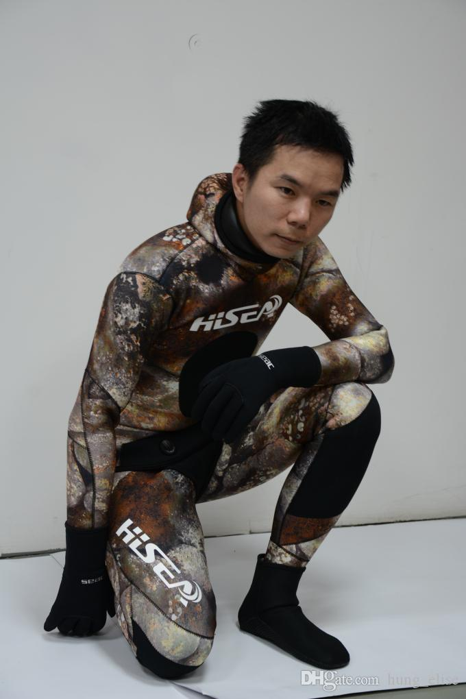 New coming Professional 2-Piece Neoprene Scuba Dive Wetsuit With Hood Split Spearfishing Wet Suit size S-2XL