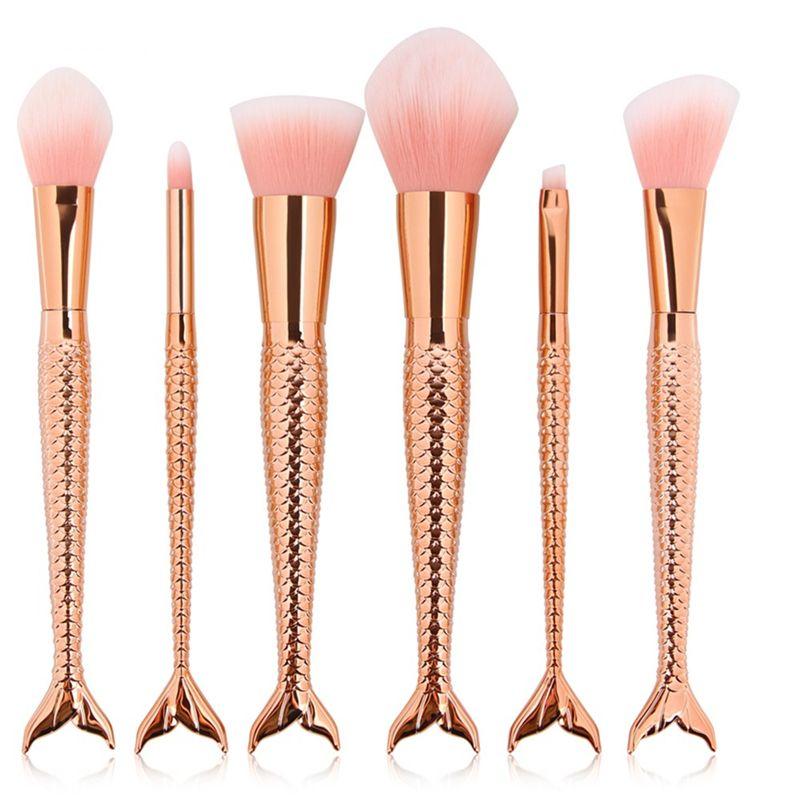 Pro Mermaid Makeup Brushes Set Foundation Powder Eyeshadow Contour Concealer Blush Cosmetic Make Up Tools Kits