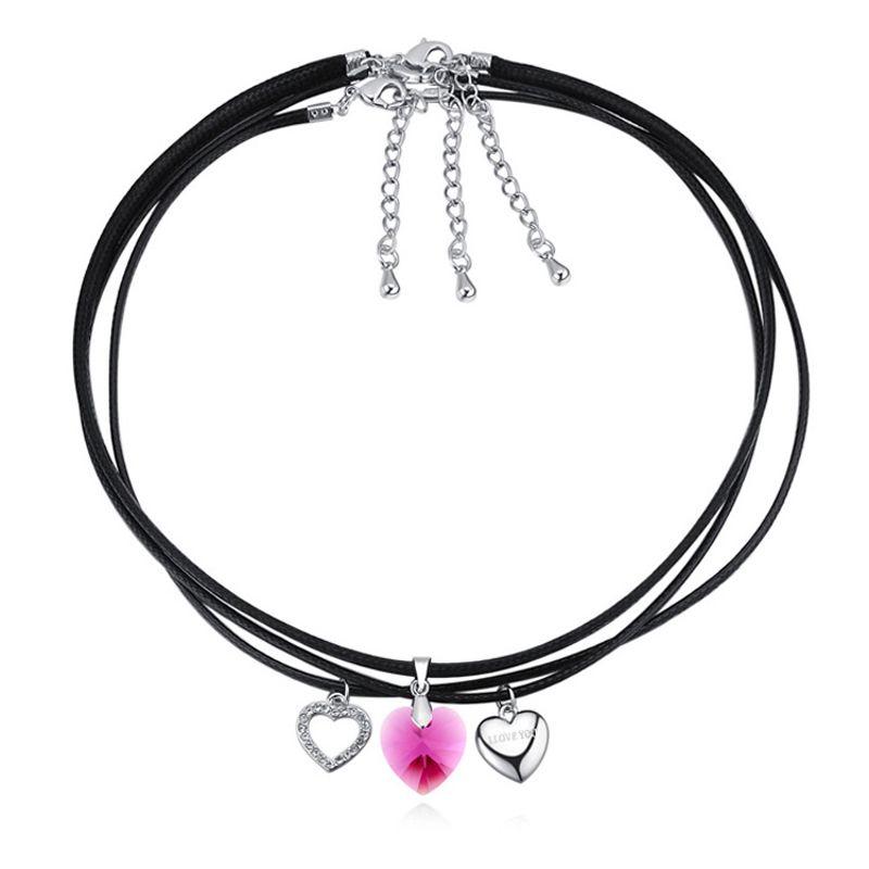 Bijoux fantaisie collier pendentifs coeur vintage cristal de swarovski haute qualité 3 collier chaîne noir corde