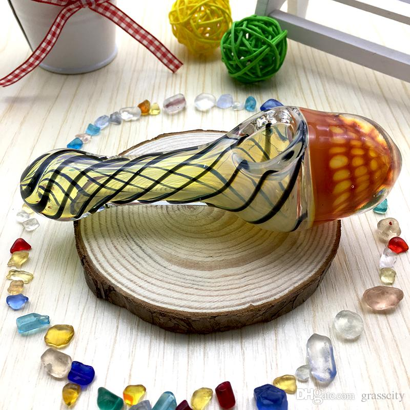 "glass smoking pipe Manufacture hand-blown and beautifully handcrafted,spoon pipe 5"" 82g Made of high quality"