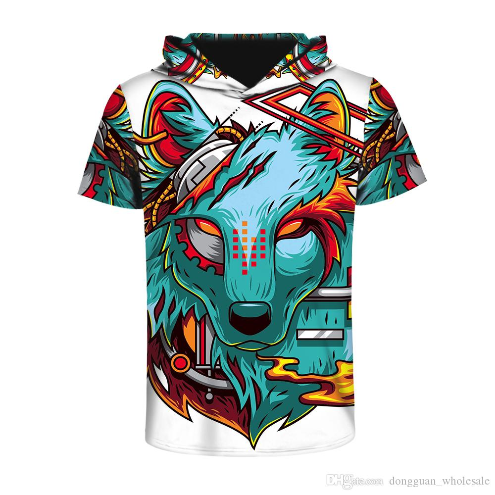 2018 Cool summer Fashion Trend style Hooded Short sleeve T-shirts funny Monkey 3d digital printing Men Women casual t shirt