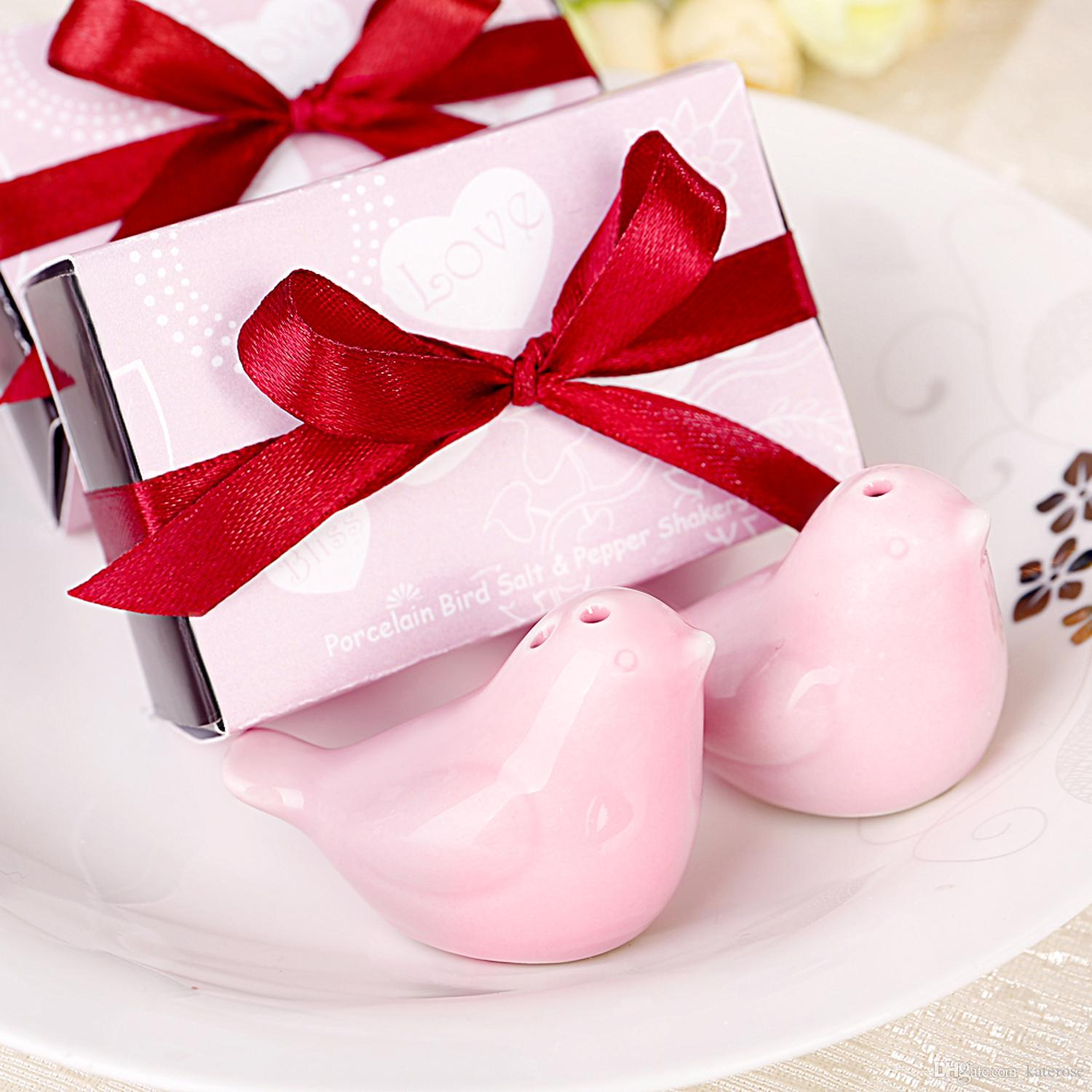 Pink Color Love Birds Ceramic Salt&Pepper Shakers Wedding Favors ...