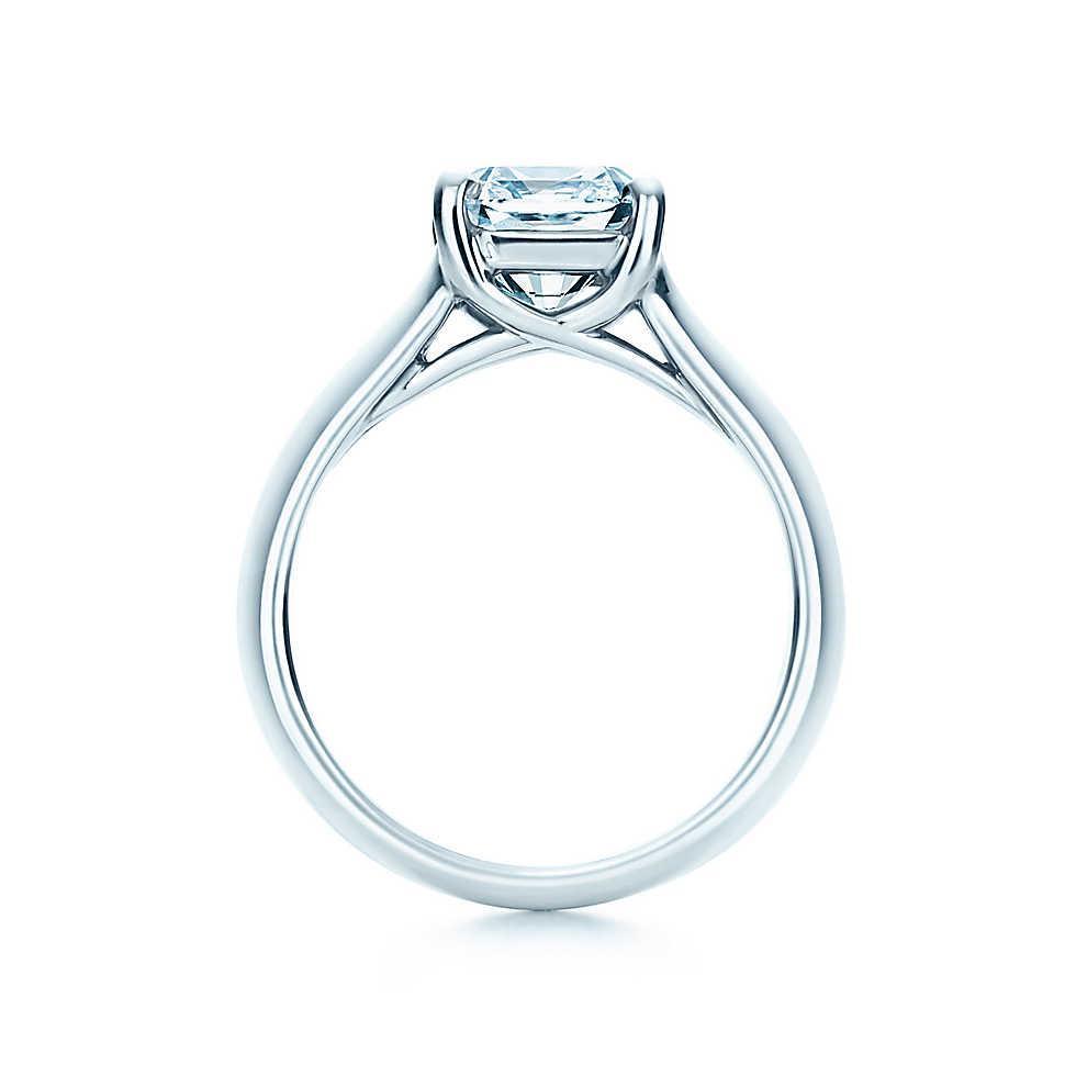 1CT Anelli di diamanti sintetici a taglio perfetto le donne Anelli in argento sterling PT950 Anello di fidanzamento placcato in oro bianco stampato
