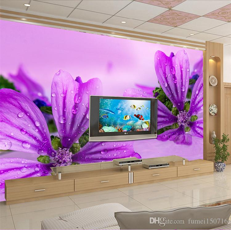 3d Living Room Tv Background Wallpaper Modern Simple Purple Flower Water  Drops Wallpaper Warm Non Woven Large Fresco Wallpaper Images Hd Wallpaper  In Hd ... Part 59