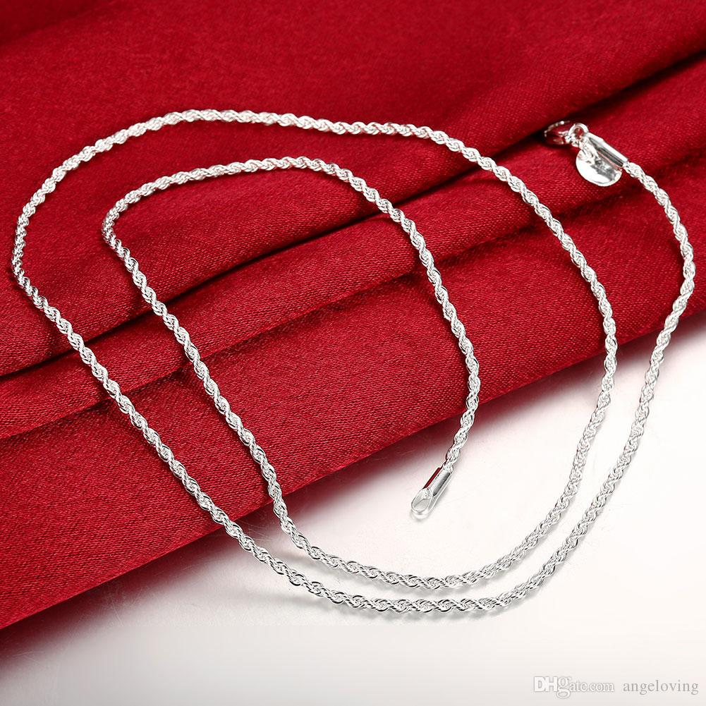 Fashion Jewelry 925 sterling silver 2mm Twist ROPE CHAIN Necklace 16inch/18inch/20inch/22inch/24inch Mix Size