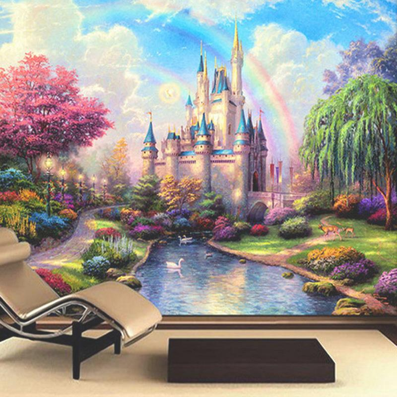 Wholesale custom 3d mural bedding room tv sofa wall for Castle mural kids room