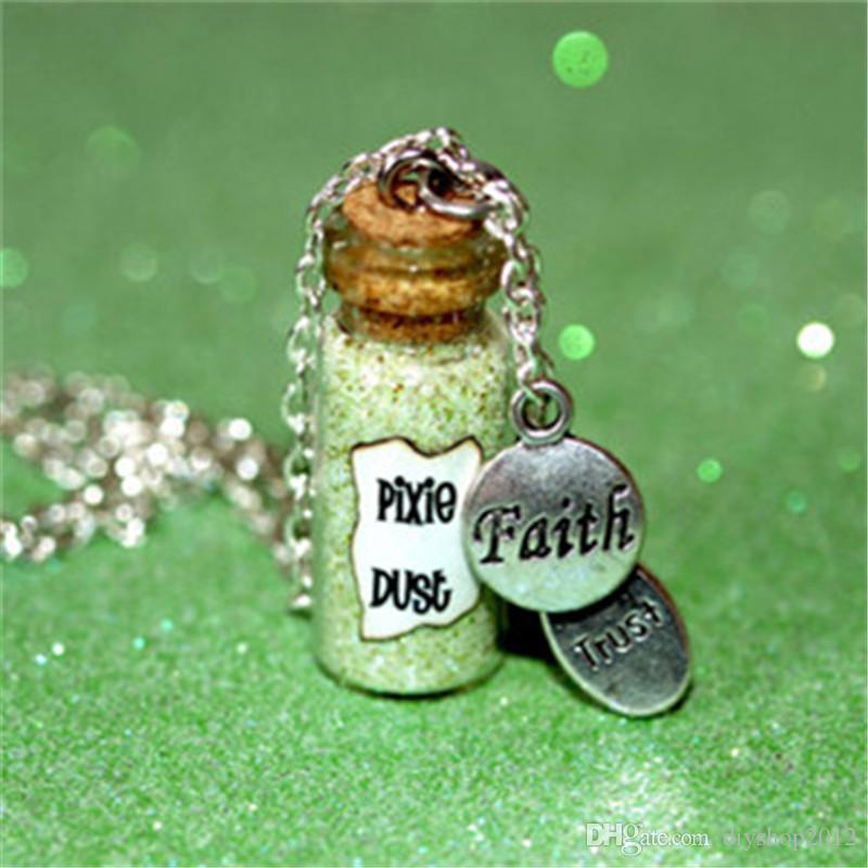 12pcs Pixie Dust Magical Necklace with a faith and trust charm glass bottle Magic necklace in silver
