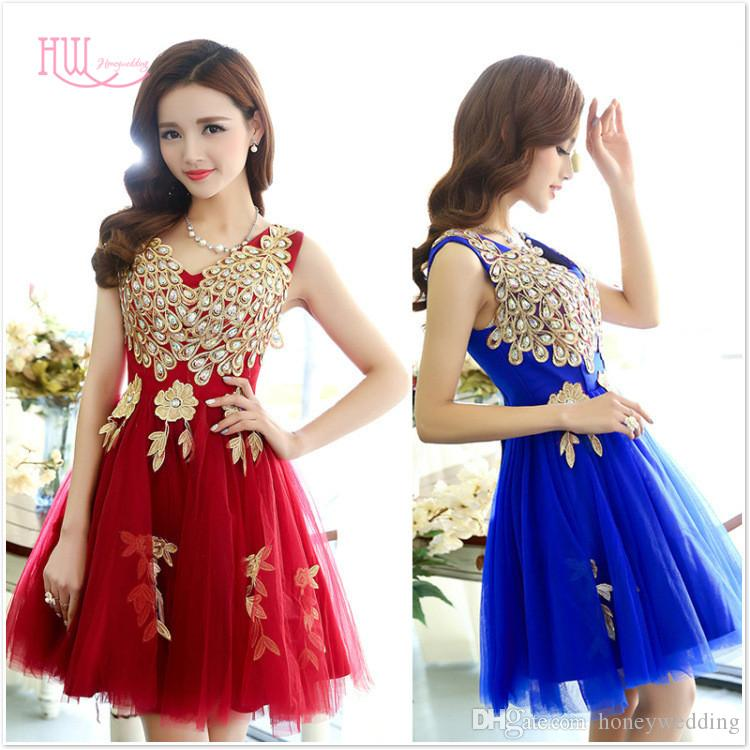 Real Burgundy Red Royal Blue Short Cocktail Party Dresses 2017 V
