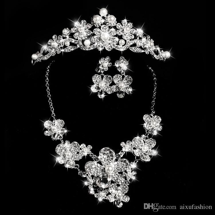 Bride Fashion Costume Jewelery Sets New Design Crystals Bride Set Necklace Earrings Tiara Crown Bridal Women Wedding Hair Jewelry Set