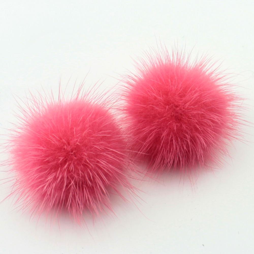 Echt Nerz Ohrring Nerz Ball Silber Ohrstecker Modeschmuck Hochzeit Ohrringe Geschenk für Frauen und Mädchen