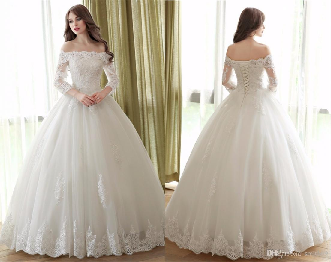 Cheap White Ball Gown 2017 Wedding Dresses Lace Up Back Long Sleeve ...