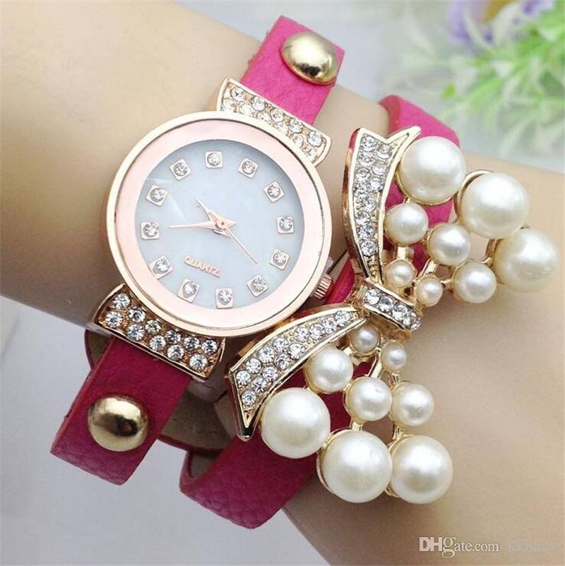 Fashion Rhinestone Belt Quartz Watch Women Diamond Pearl Butterfly Layers Leather Bands Wristwatch Bracelets Bangle Charm Jewelry Gift