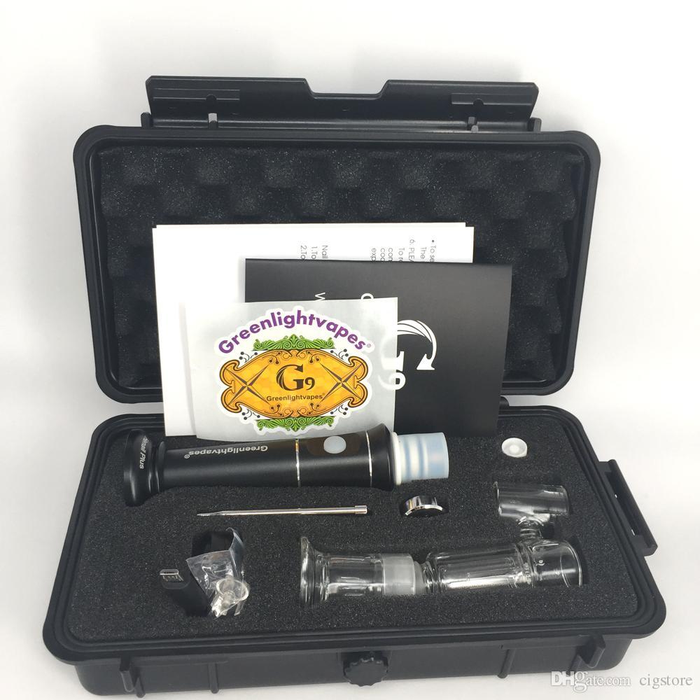 Mais novo atualização G9 henail plus 2500 mah recarregável cera vaporizador caneta bubbler vidro bong seco erva vape caneta com Quartzo / cerâmica / titânio unha