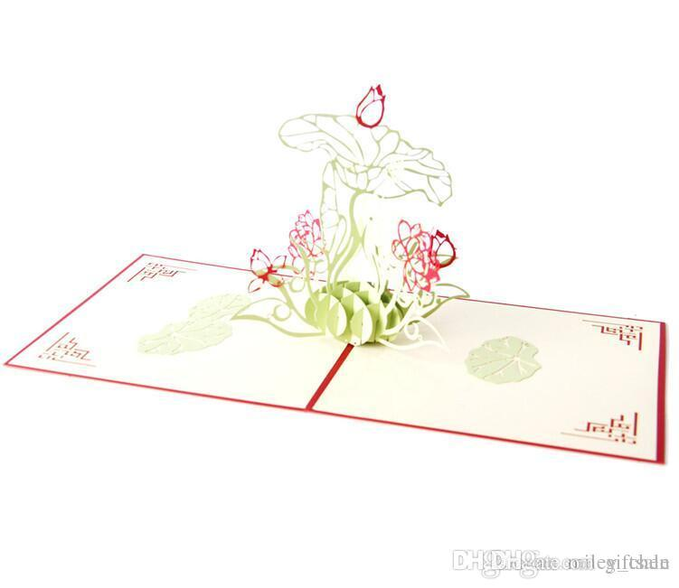 lotus flower 3d pop up paper laser cut greeting cards happy birthday