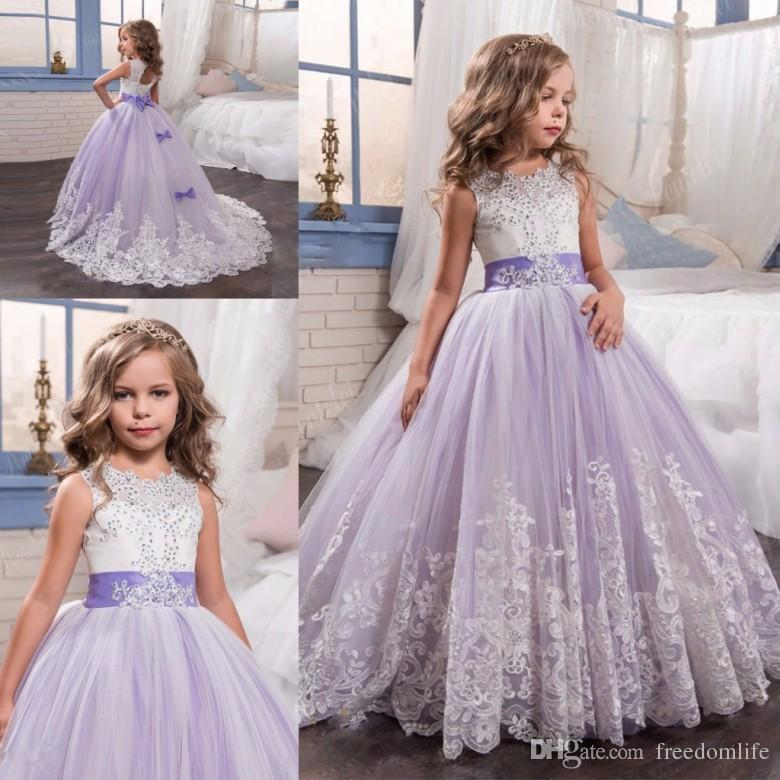 New Arrival Lilac Princess Style Flower Girl Dresses With Bow Ball ...