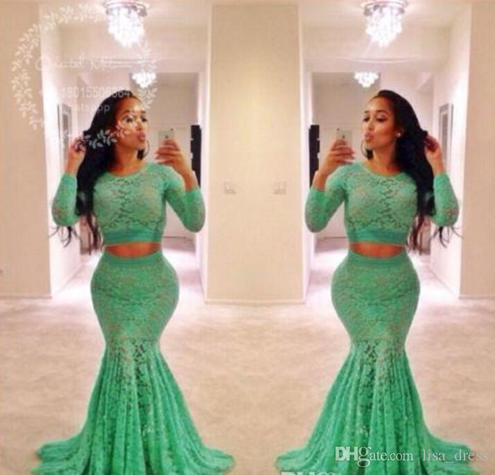 Lime Green Lace Two Pieces Prom Dresses 2017 Long Sleeves Mermaid