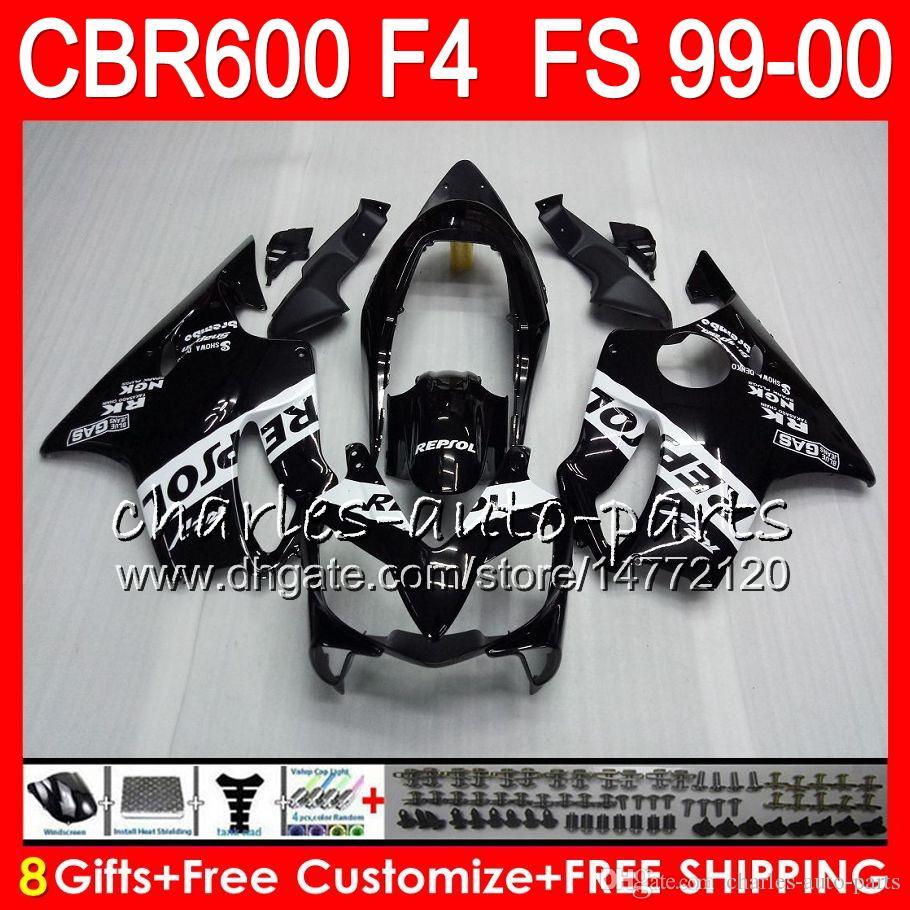 8Presentes Carroçaria Para HONDA CBR 600 F4 99-00 CBR600FS FS 30HM2 Repsol preto CBR600 F4 1999 2000 CBR 600F4 CBR600F4 99 00 Carenagem Kit
