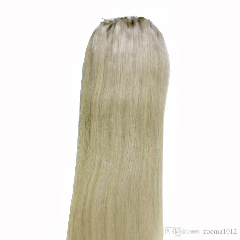 100gMicro Ring Loop Human Hair Extensions Brazilian straight 100strands #1 #1B Black #8 #10 brown #27 #60 #613 blonde #99J