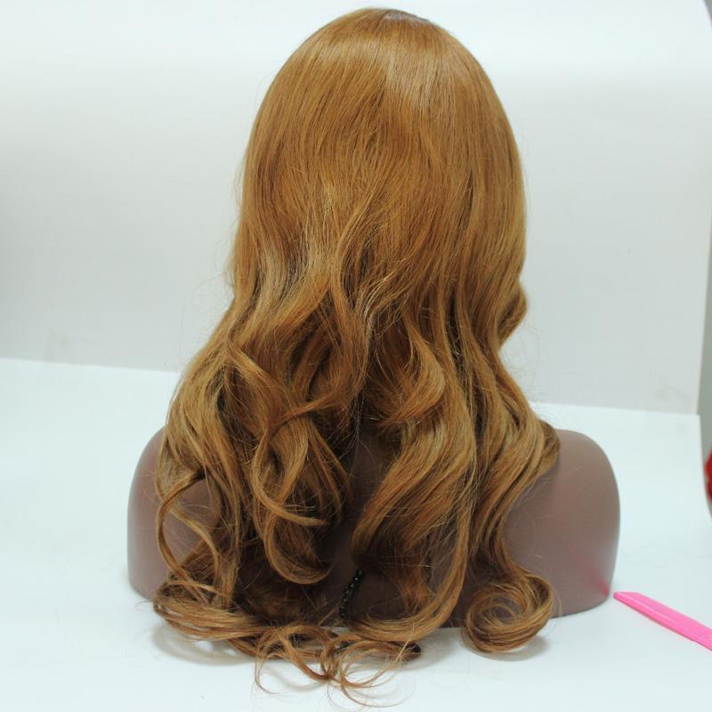 Onda do corpo Loira perucas com 100% cabelo humano cabelo europeu peruca cheia do laço morango cor loira frente perucas