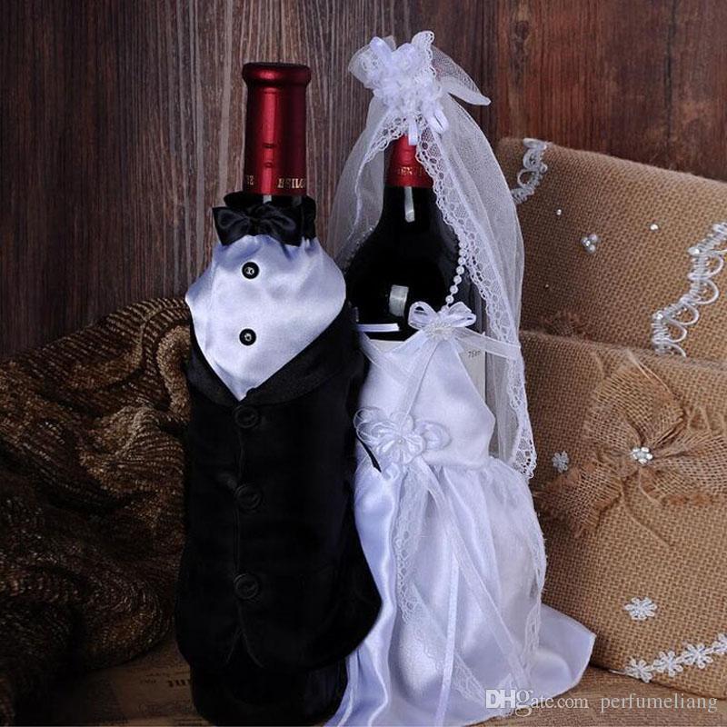 Mode Handgefertigte Hohe Qualität Weinglas Champagner Flasche Braut Und Bräutigam Kostüm Becher Abdeckungen Hochzeit Dekoration ZA3045