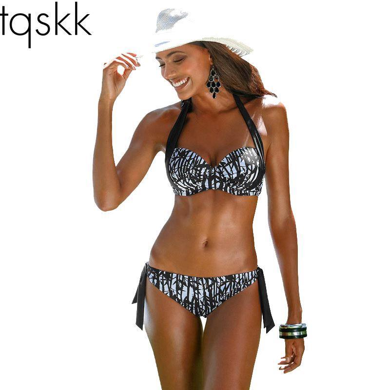 fc14dcd380 2019 TQSKK 2017 New Sexy Bikinis Women Swimsuit Push Up Halter Top Bikini  Set Plus Size Beachwear Bathing Suit Biquini Swimwear 2XL From Hellen1209,  ...