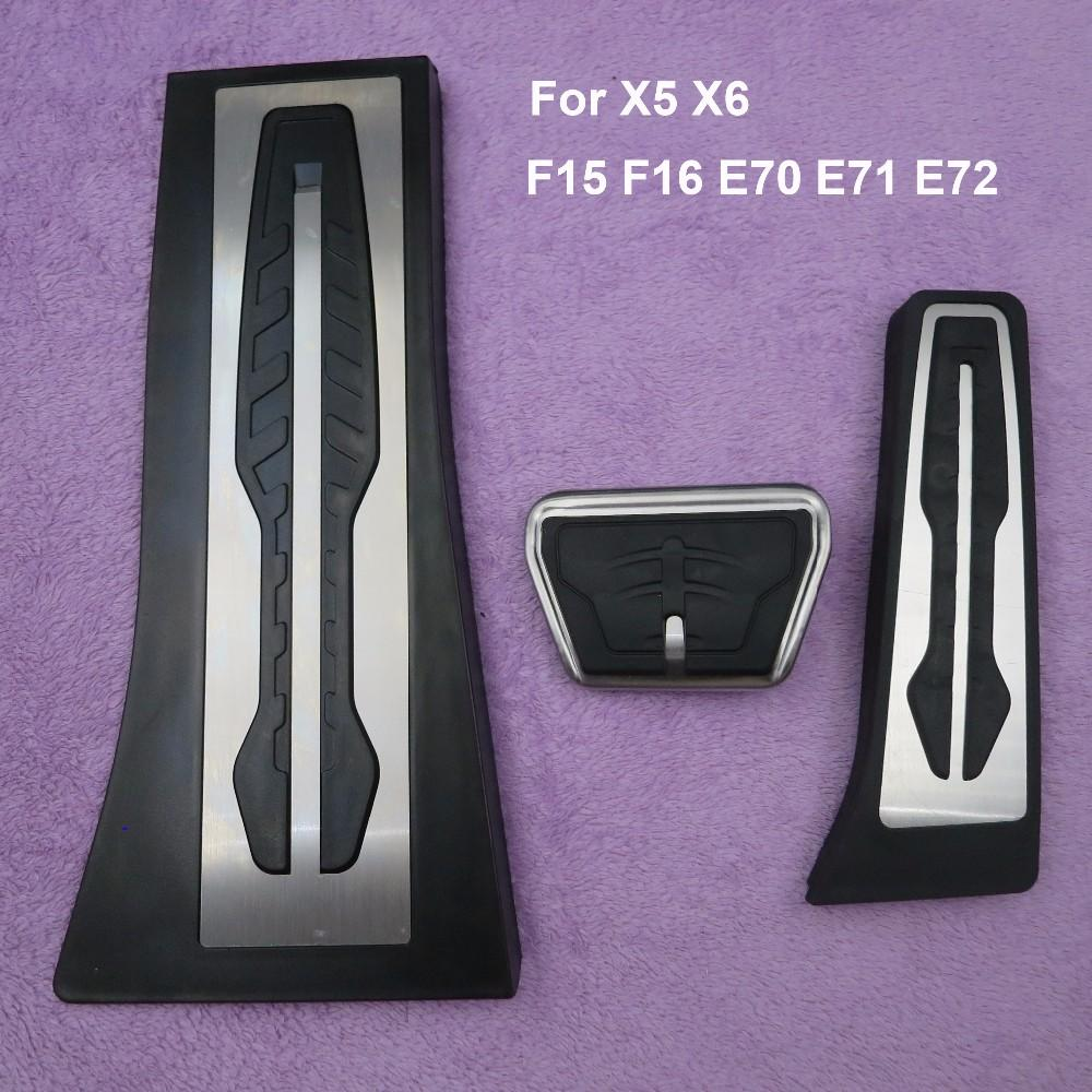 Non-Drilling !Gas Fuel Brake Footrest Pedal Plate Pad AT For BMW New 1 2 3 4 5 6 7 series GT X3 X5 X6 F15 F16 E70 E71 E72 LHD!