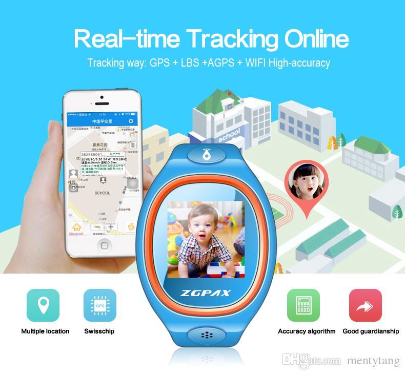 ZGPAX S866A Kids reloj GPS con SOS GPS LBS Smartwatch reloj de pulsera de radiación más baja para Android IOS regalo de Navidad