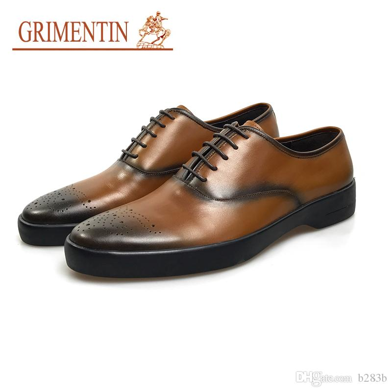 GRIMENTIN Hot sale Newest brown dress formal shoes mens luxury british style business shoes high quality leather for male size:38-44 YJ14
