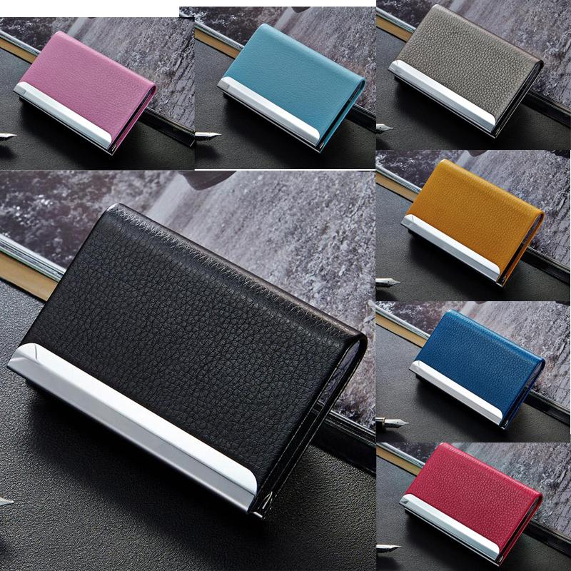 Stainless Steel PU Leather Business Credit Card Holder Wallet ID ...