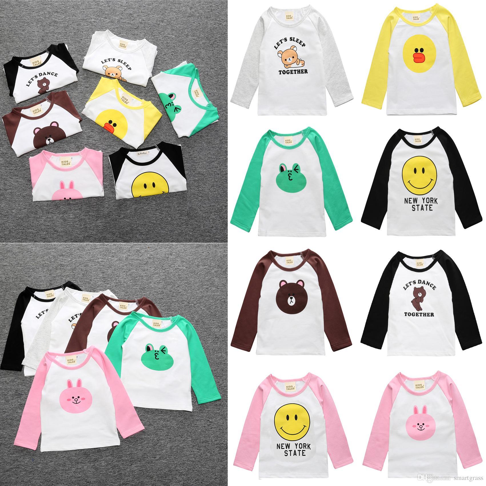 Compre Los Niños Lindos De Manga Larga Camiseta De Algodón Barato Ropa De  Bebé Boy Girl Niños Raglan Impreso Moda Camisetas Niñas Niños Tops 17072901  A ... 9054001bf0a