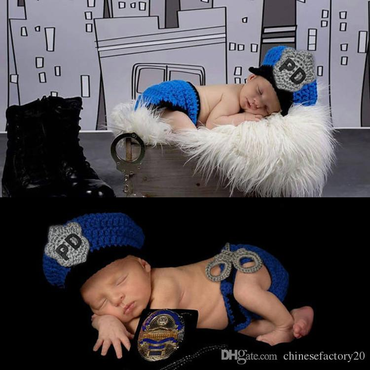 Newborn Photography Prop Police Costume Crochet Wool Hat Set Baby PO Knitted Caps Outfits Photo Props