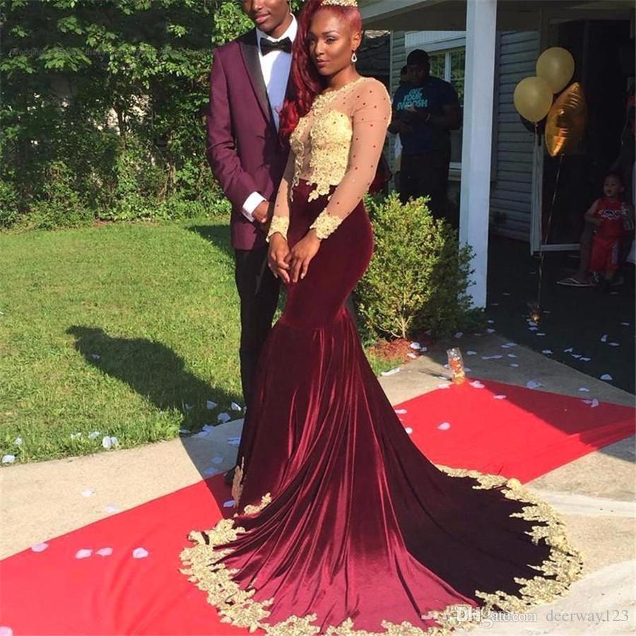 Gorgeous Burgundy Appliques Long Sleeve Velvet 2017 Prom Dress Gold ...