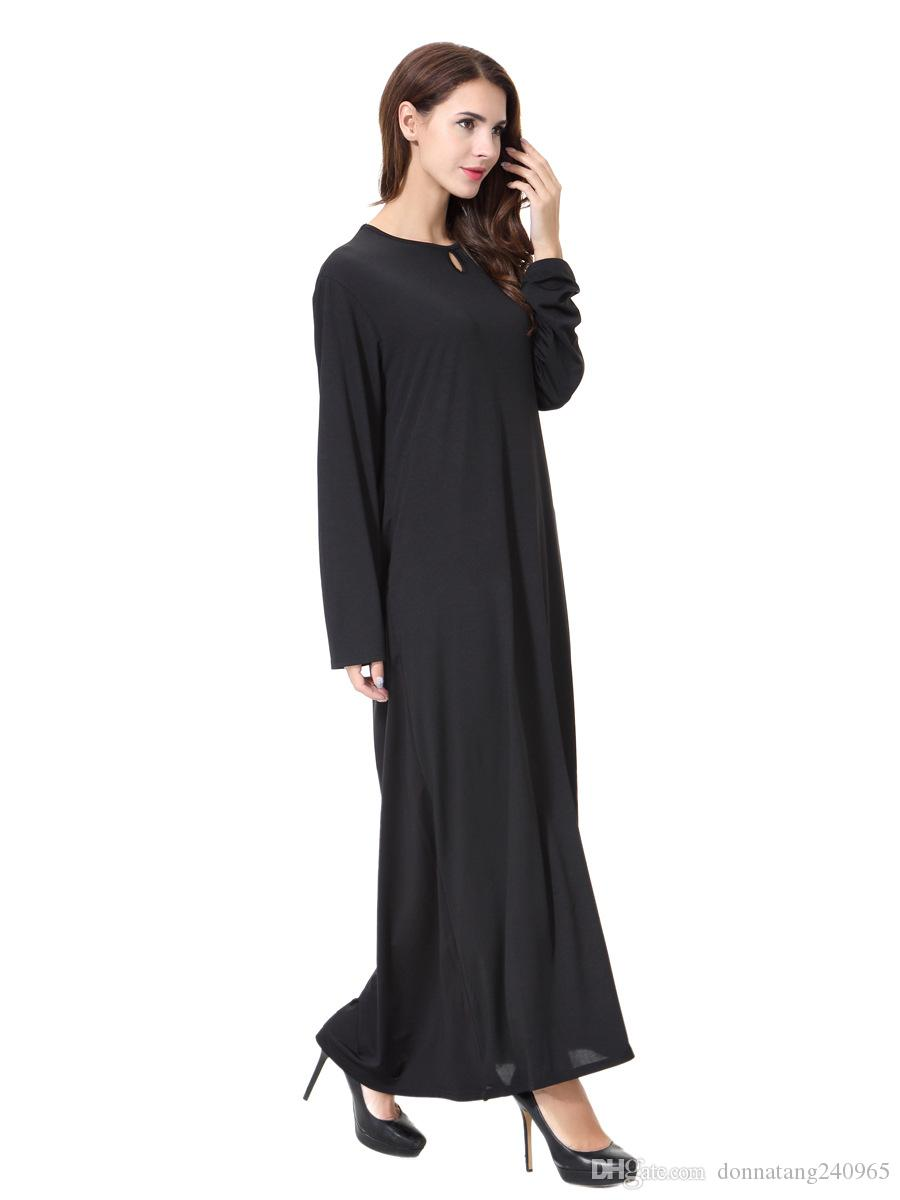 Новое Прибытие Исламский Черный Плащ Абайя Мусульманское Длинное Платье Для Женщин Малайзия Дубай Турецкая Женская Одежда Высокое Качество Халат