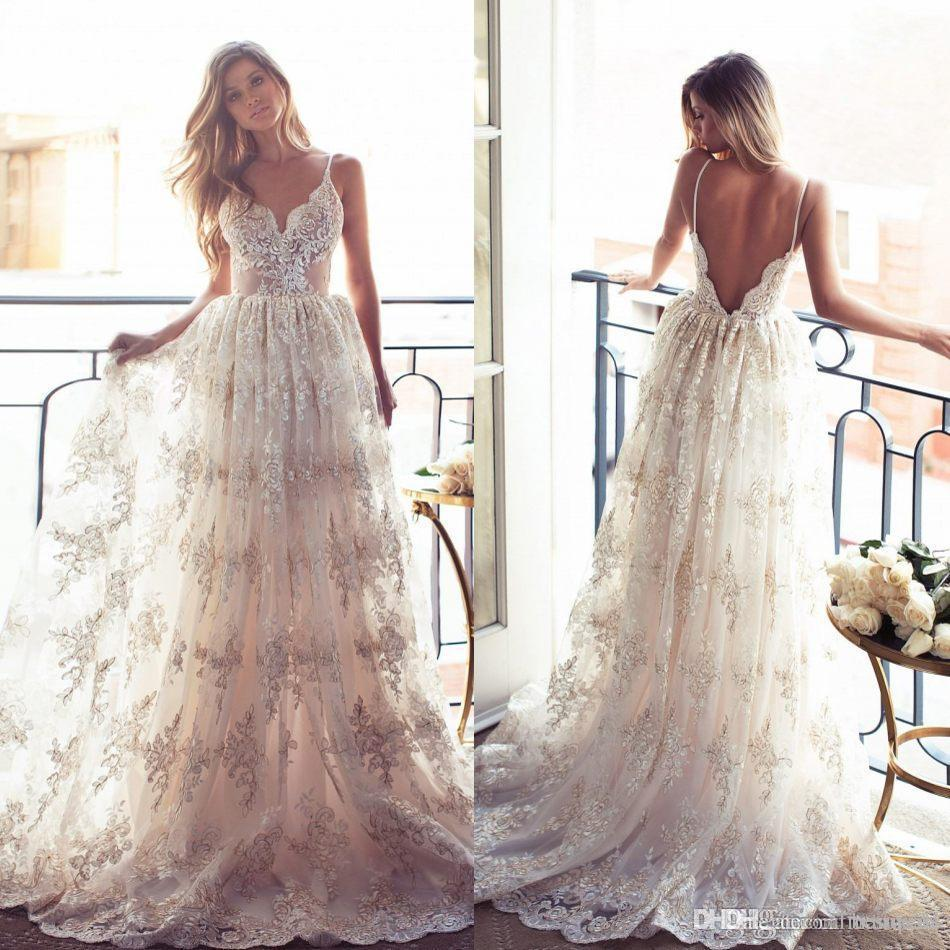 2017 Vintage Lurelly Belle Full Lace Wedding Dresses Sexy Spaghetti Straps Backless Gowns Sweep Train Beach Garden Bridal