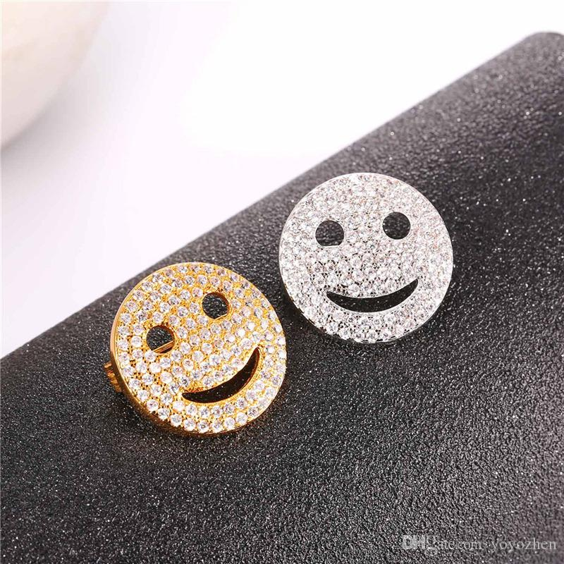 Cubic Zirconia Smiling Face Broches para Mujeres Hombres Platinum Plateado 18K Real Gold Plated Cute Lucky Breastpin