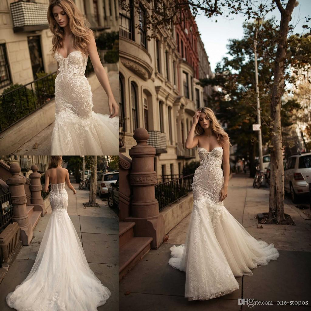 5925783fb98f 2017 Sexy Sweetheart Mermaid Wedding Dresses Berta Lace Appliques Beaded  Corset Lace Court Train Custom Made Trumpet Bridal Gowns Lace For Wedding  Dress ...