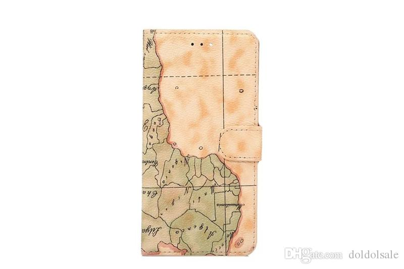 DOLMOBILE World Map Retro Design PU Leather Case Cover with Stand for iPhone 7 Plus 6 6G 6S Plus with Credit Card Slots