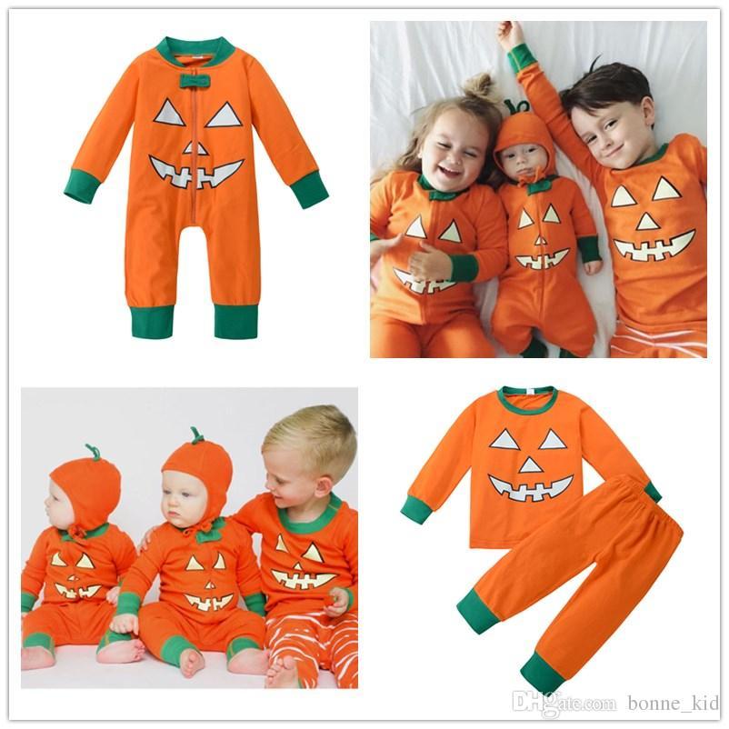 47ac4fee8829 2019 Halloween Pumpkin Costumes Kid Outfit Baby Jumpsuit Boys Girls Cotton  Newborn Bodysuit Demon Face Orange Green All Hallow Mas Kids Clothing From  ...