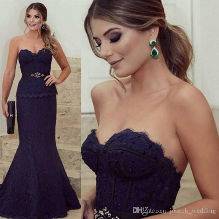 Lace Crystal Sexy Mermaid Evening Dress robe de soiree 2017 Beading Sweetheart Navy Blue Long Formal Prom Gowns