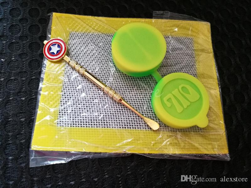 Silicone Wax Kit Set with square sheets pads mat double chamber 42mm*22mm 10ml silicon container superhero dabber tool for dry herb jars dab